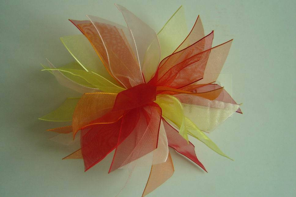 woven edge organza ribbons colorful flowers