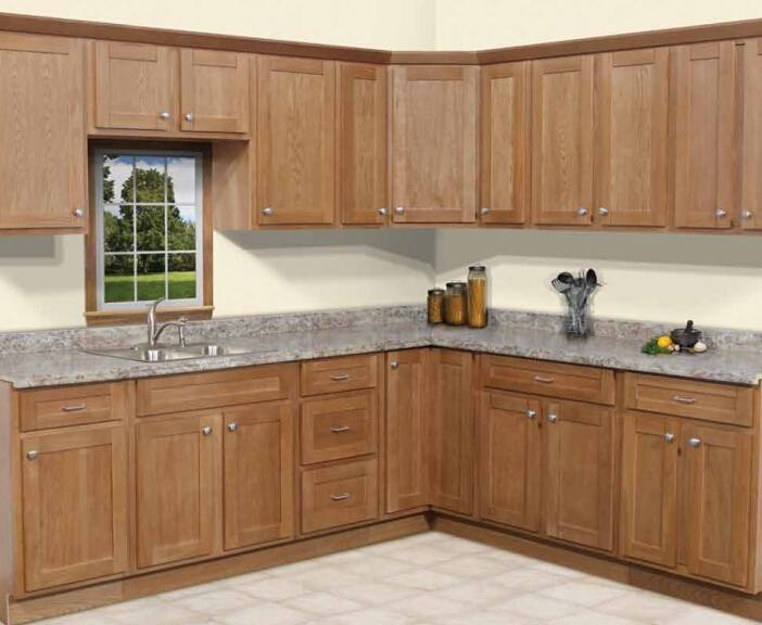 Oak veneer cabinets kitchen integral ambry plywood