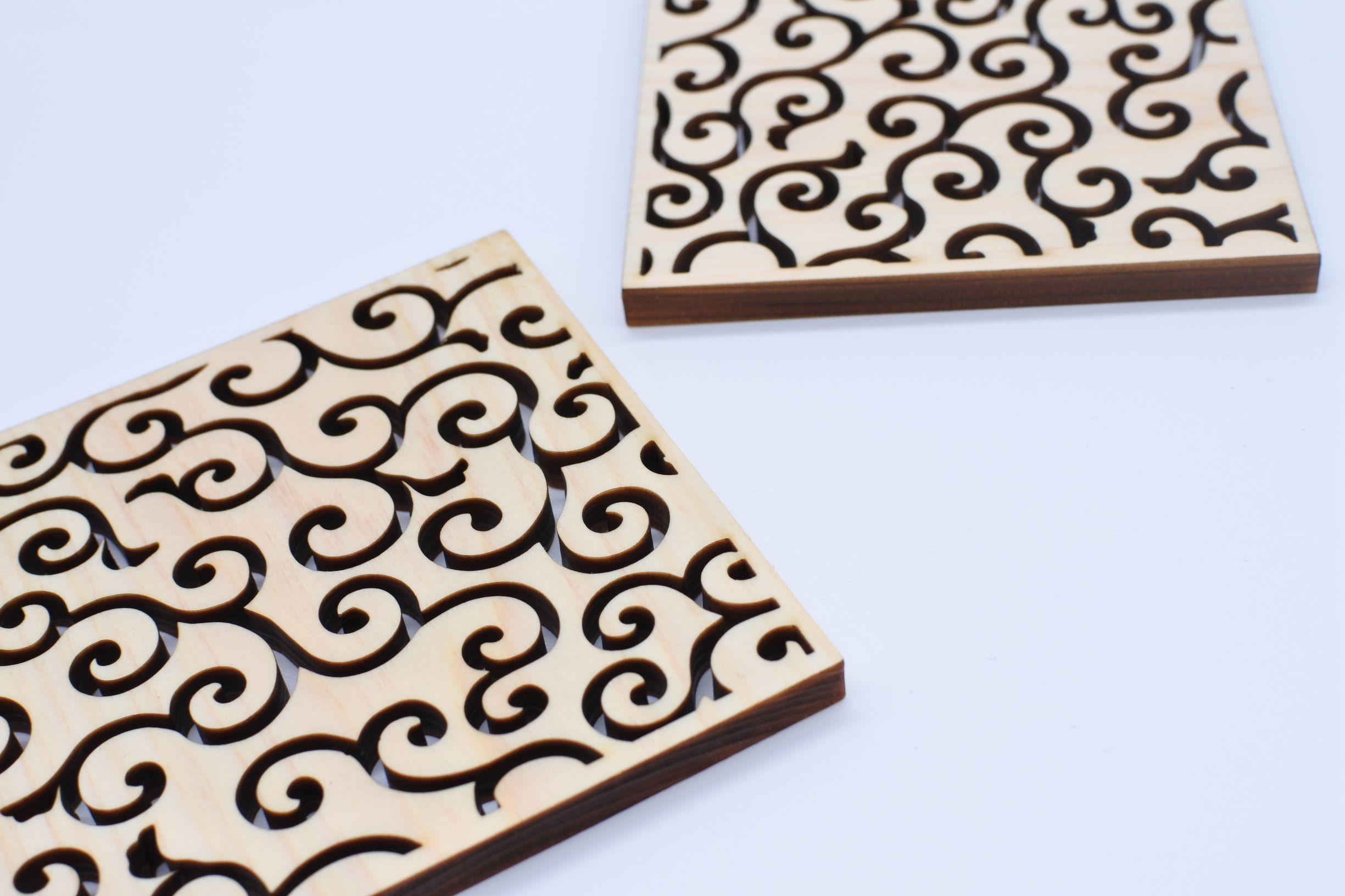 Natural Wooden Handmade Coaster Made of Nikko Cypress Drinkware Japanese Patterns