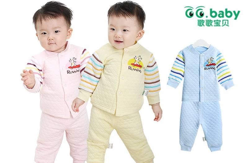 2015 Cute Autumn Winter Baby Clothing Sets Striped Babies Shirt+Baby Pants Warm Newborn Baby Girl Bo