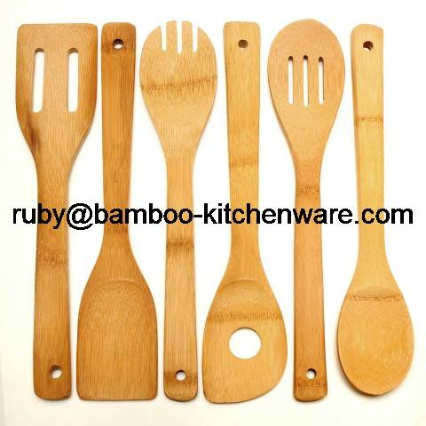 6 Piece Bamboo Wood Kitchen Dining Cultery Cooking Utensil Set, including Spoon, Spatula, Fork