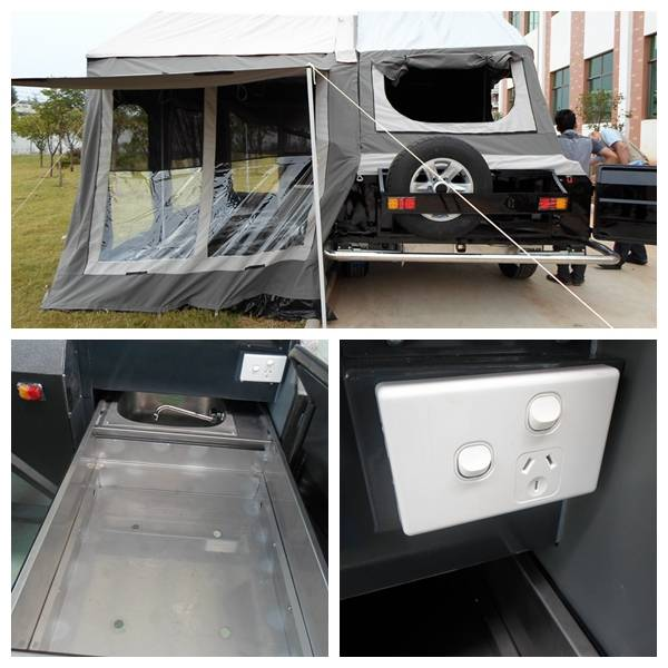 ADRs 62 Off road travel trailer with slide tray for stove and water sink