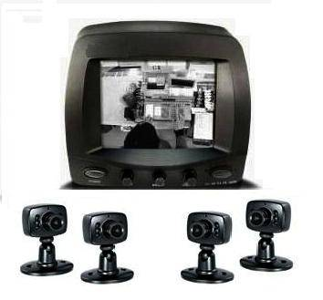Sell 5.7 CCTV Security Black&White Monitor with 4 Cameras
