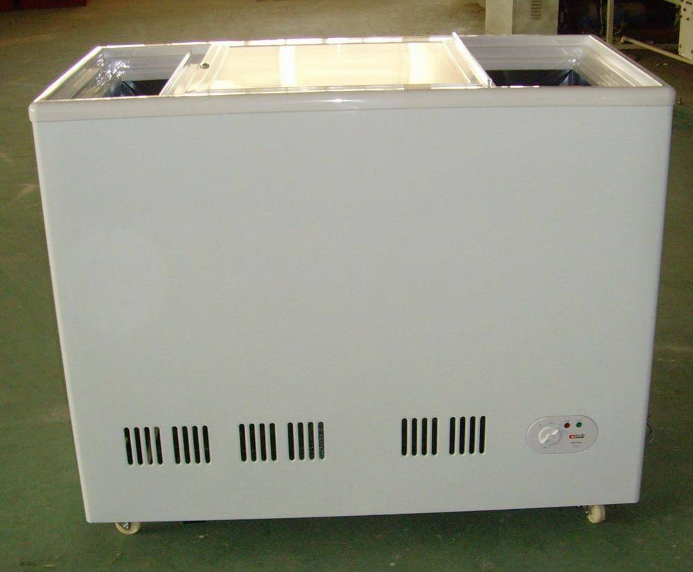 Plain glass door freezer