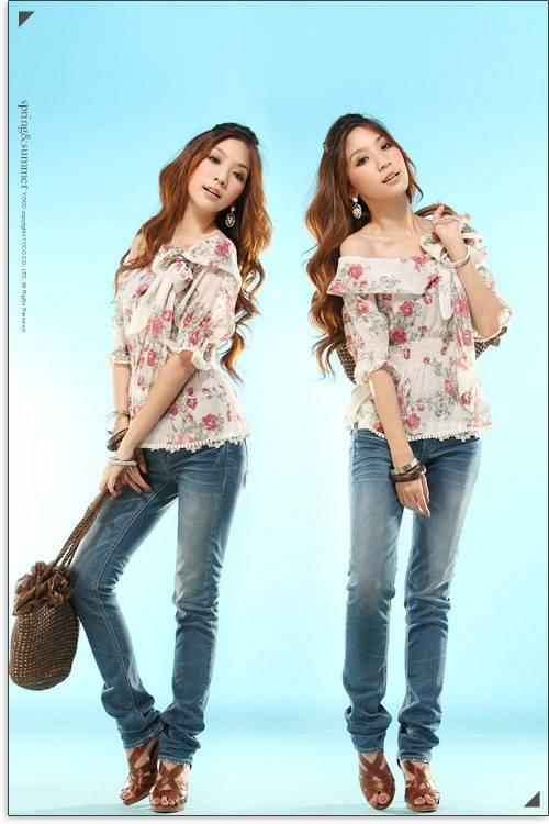 Shirt Women's Shirts Short Shirt Slanting Bowtie Collar Rose Printing Blouse