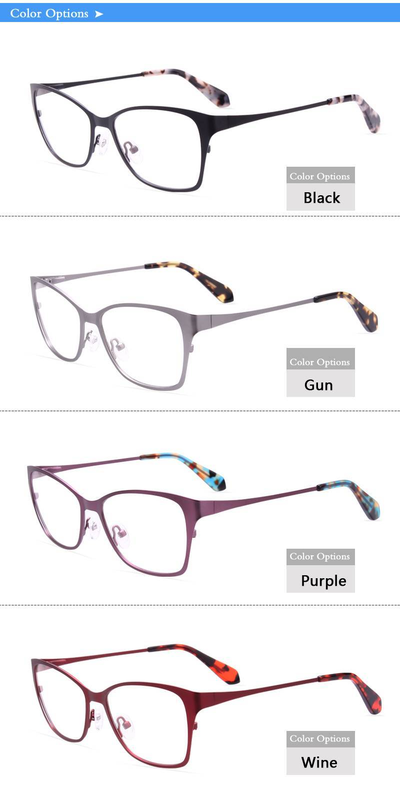 women style stainless steel eyeglasses frames ready in stock