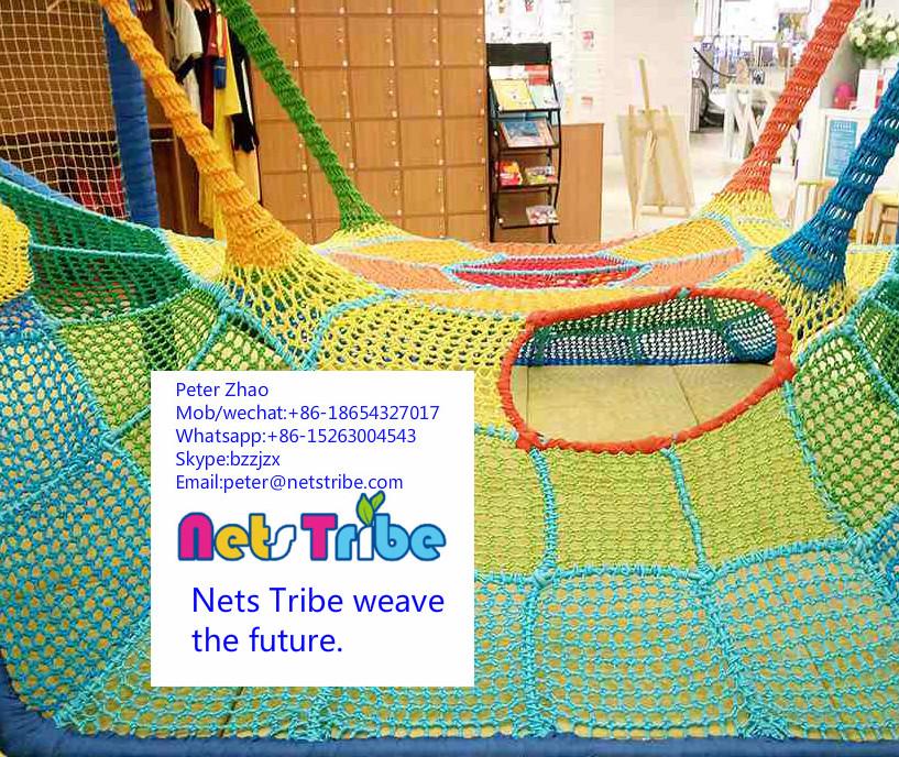 Professional polyester fibre indoor playground spider web cheap amusement rides