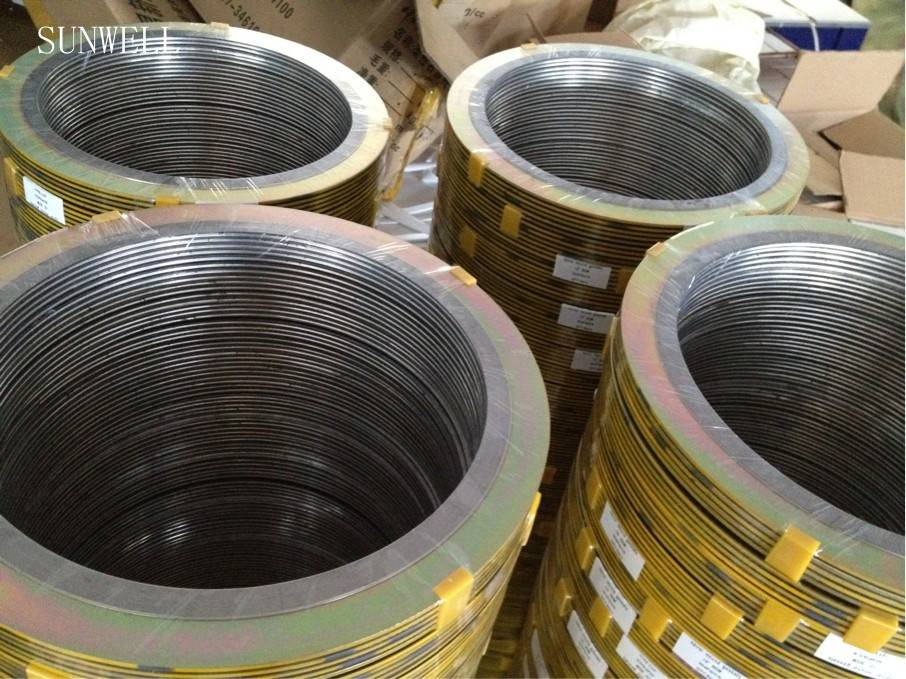 Spiral wound gasket with rings