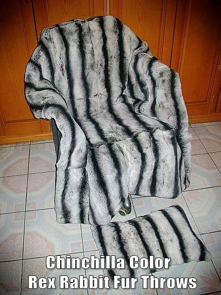 Chinchilla Color Rex Rabbit Fur Throws