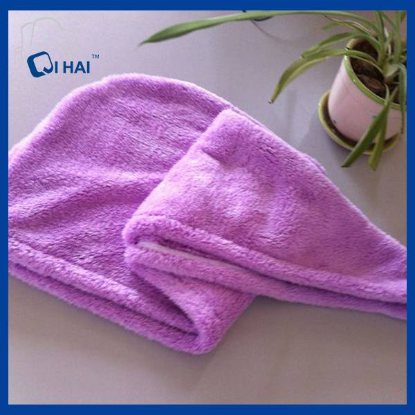Microfiber Coral Fleece Dry Hair Cap (QHM88967)
