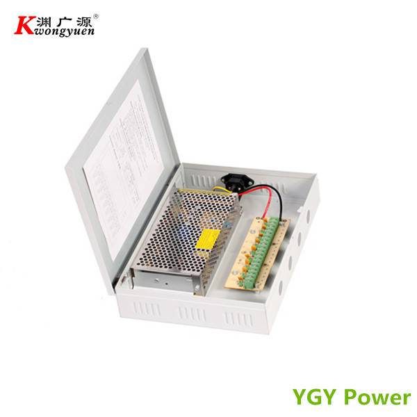 9 Channel Output CCTV Power Supply Box 12V 10A 120W