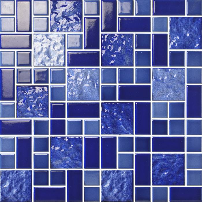Mixed blue glazed mosaic for swimming pool