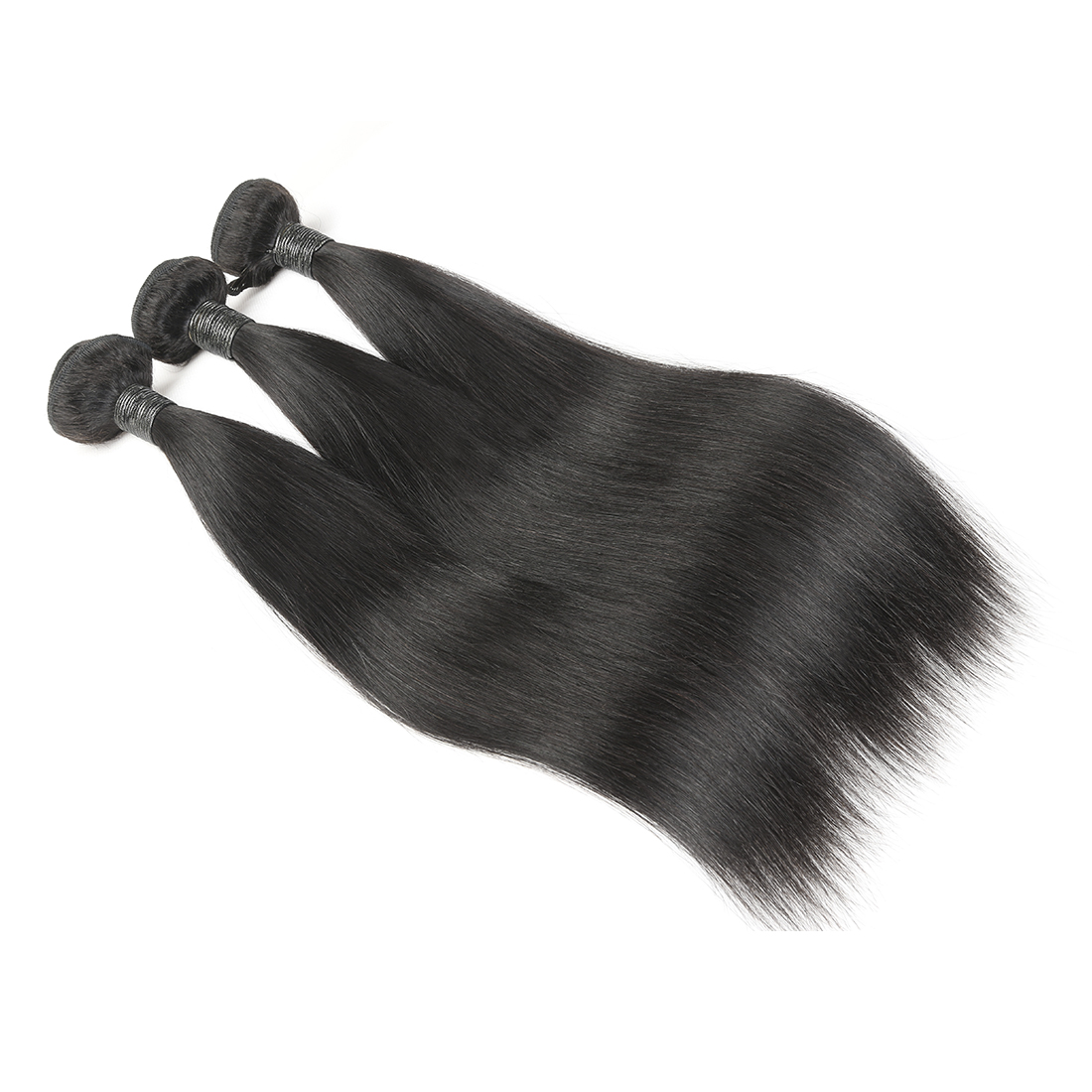 8A Malaysian Straight Human Virgin Hair Weave 3 Bundles With Lace Frontal