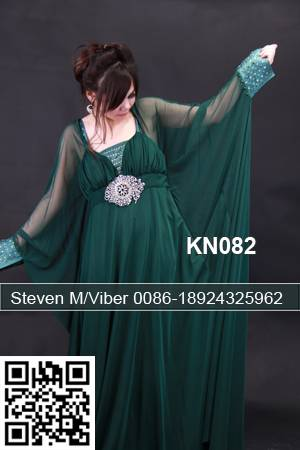 Green See Throughlook Chiffon Arabic Kaftan Jalabiya Formal Wedding Dress