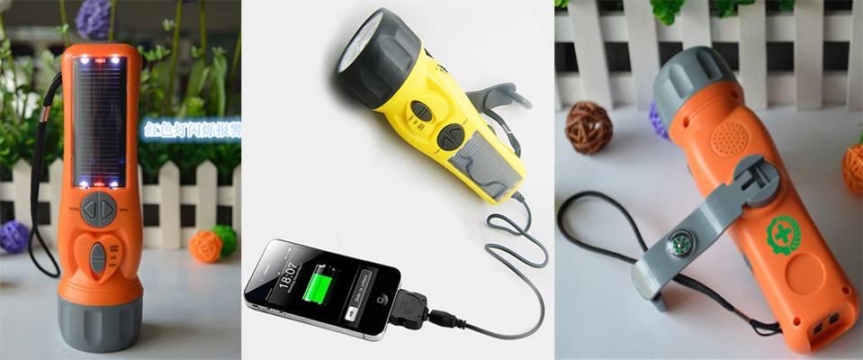 Multifunction solar dynamo FM radio mobile phone charger flashlight