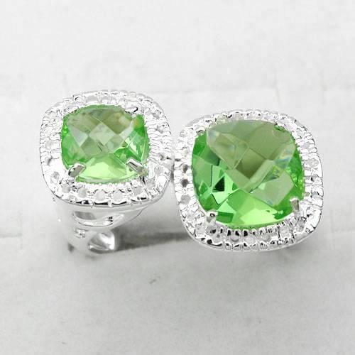 2012 fashion jewelry 925 sterling silver plated green quartz bridal rings