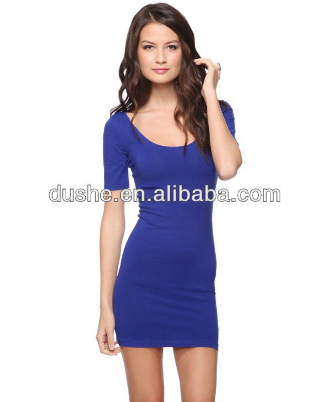 Short Sleeve Ladies Fitted Tight Mini Dress 2014 S304075