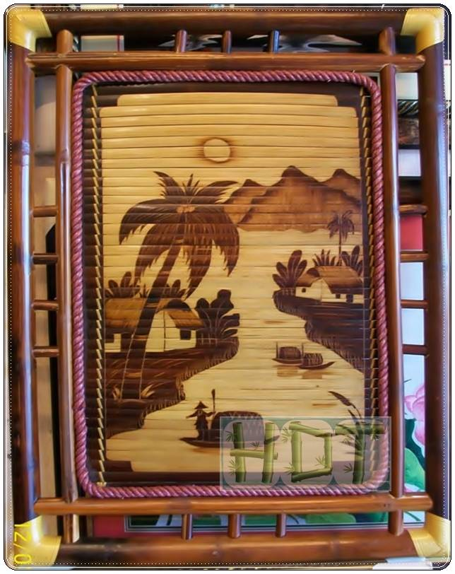 Shaving Smoked Bamboo Painting Handicrafts (Nature Scenery Countryside Landscapes Artwork)_ This Is