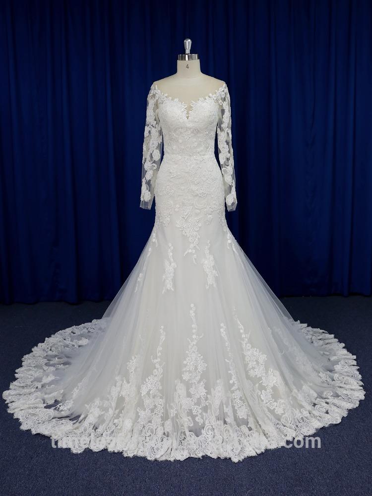 2017 Hot sale illusion neckline lace appliqued mermaid wedding dress
