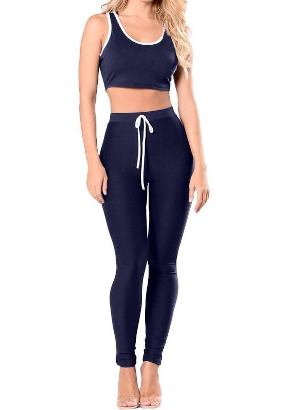 Women Hooded Crop Top Long Pants 2 Pieces Set Bodycon Sportswear Activewear