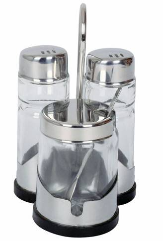 sell Three-Piece Glass Condiment Set with Holder FYCD-19