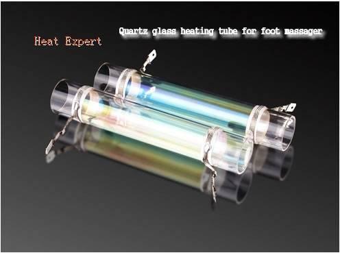 Quartz glass heating tube for foot massager