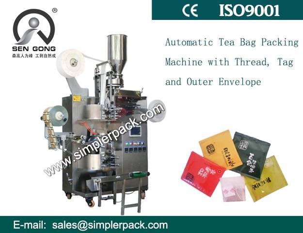 Simple Multi-fuction Green Tea Bag Packing Machine (with Outer Envelop, Thread and Tag)