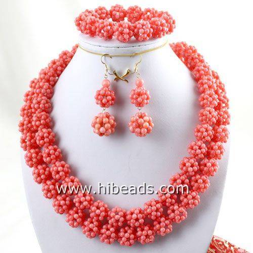 34 Pink coral necklace sets handmade small balls
