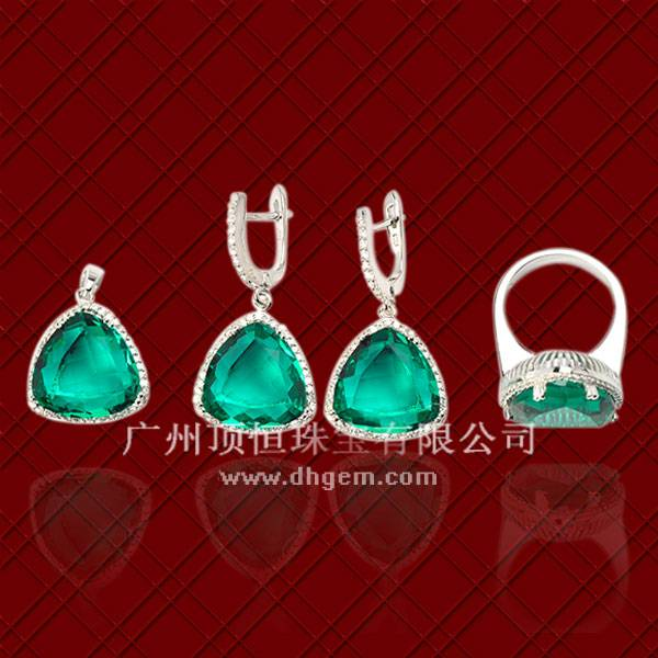 2014 China Cheapest 925 Sterling Silver Jewelry Set With Synthetic Glass Stone Wholesale