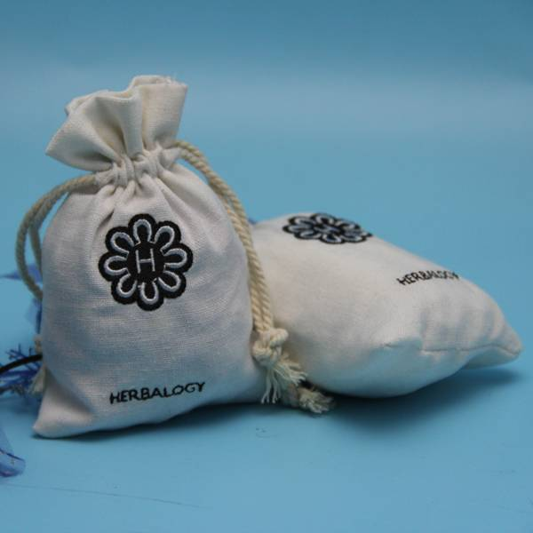eco plain cotton jewelry pouch with embroidery logo
