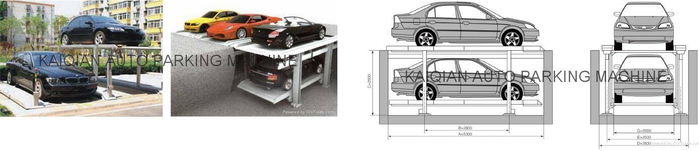 TWO LEVEL SIMPLE PARKING SYSTEM WITH PIT