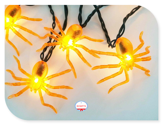 Orange Plastic Halloween Spider LED String Light