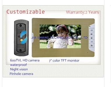 newest 7 inch video door phone, waterproof HD camera, Pinhole camera,nigh vision,24 kinds rings