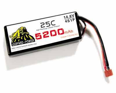 Leopard Power rc lipo battery for rc heli 5200mah-4S-25C