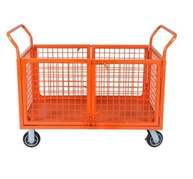 Heavy duty grid platform hand trolley with double door