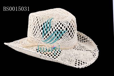 Hot selling white paper straw cowboy hat to decorate for men