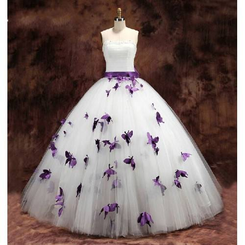 GLAMOROUS BALL GOWN TULLE& SATIN STRAPLESS EMBELLISHMENT WITH BUTTERFLY FLOOR LENGTH WEDDING DRESS F