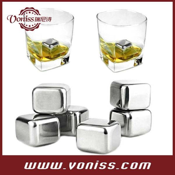 Premium Drink Chilling Stainless Steel Reusable Whiskey Ice Cubes Chilling Rocks Stones and Whiskey