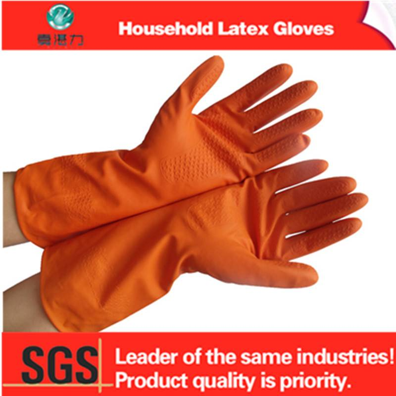 long cuff household cotton latex gloves with different color