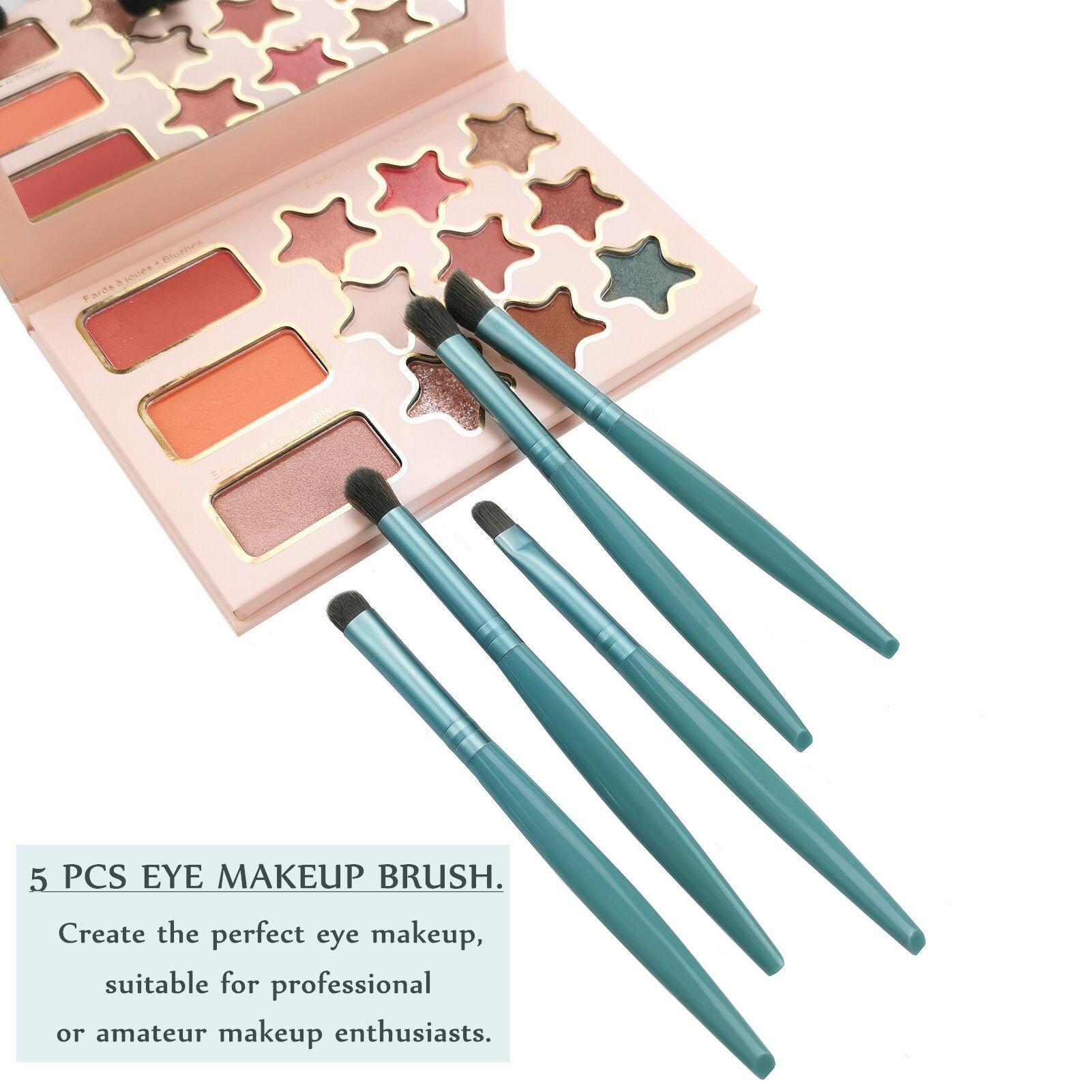 Ultra soft portable mini eye shadow brush nose brush eyebrow brush lip brush smudge brush set in 5pc