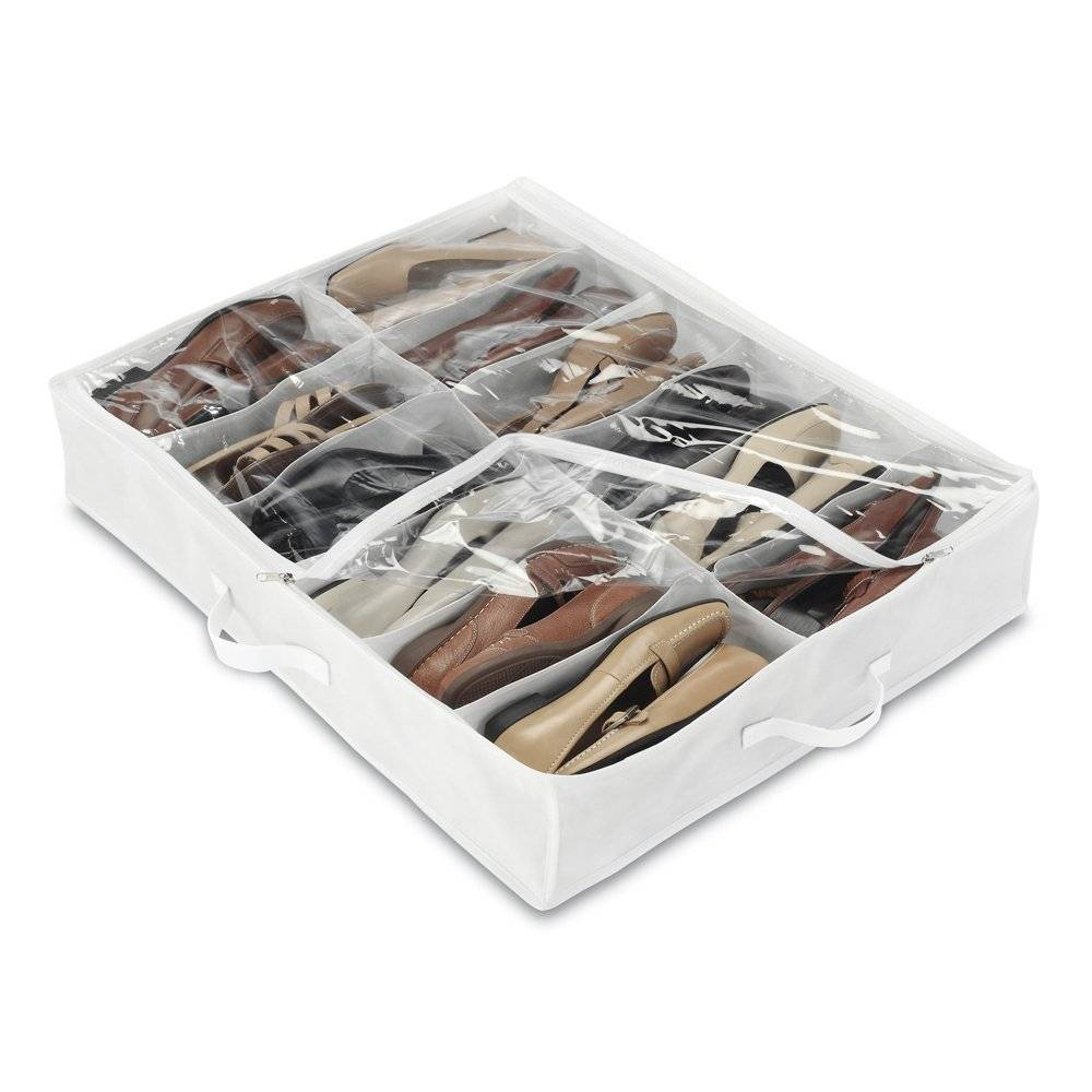 12 Pairs White Crystal Collection Underbed Shoe Bag