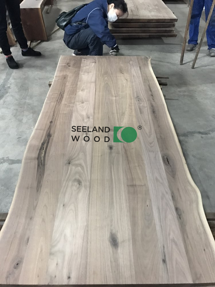 American black walnut multi-planks table top with Live Edge