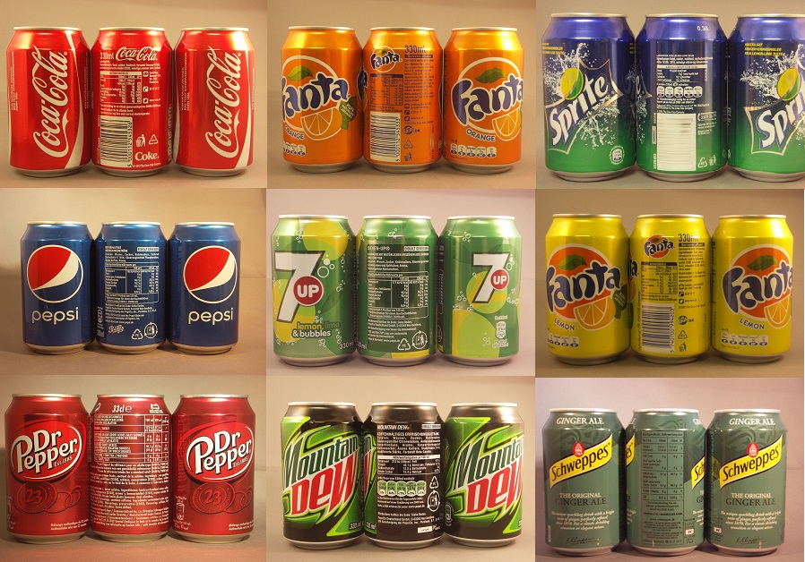 Coca Cola, Fanta, Sprite, Pepsi 330ml & Red bull 250ml
