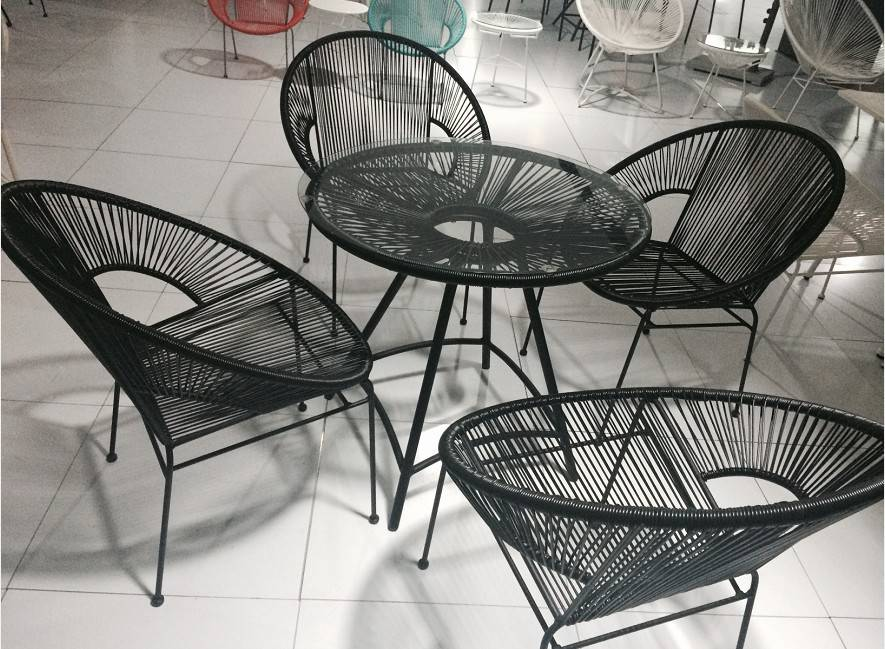 Outdoor furniture PE rattan, 4 leisure chairs and 1table,10 colors dining chair and table set