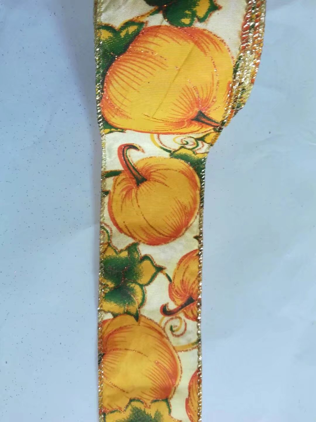 Pumpkin fabric ribbon with sewing wire edge