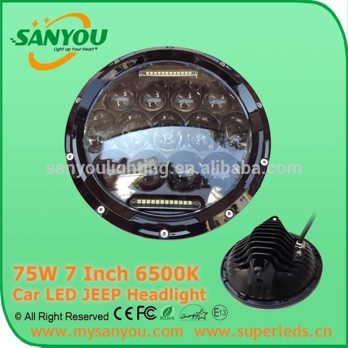 Sanyou 75W round LED Jeep headlight, H/L&DRL 6750lm projector headlight, 6500K 7inch chrome headligh
