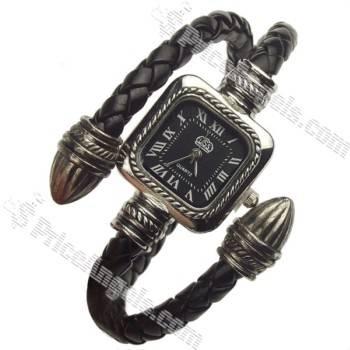 Novelty Bracelet Style Wrist Watch with Leather Wrist Strap-Black