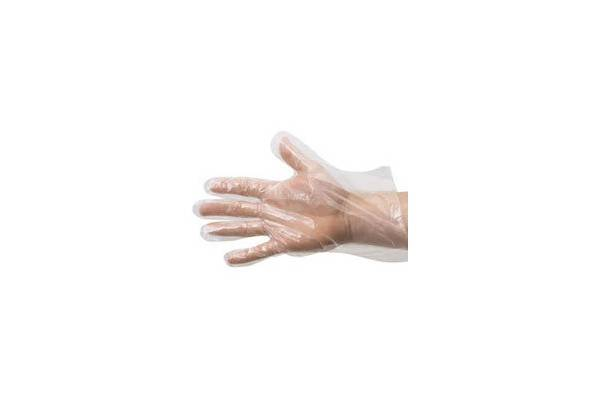 Embossed poly disposable medical glove