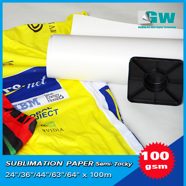 "100gsm,24"" Full sticky heat transfer sublimation paper for sporting textile eliminate ghosting"
