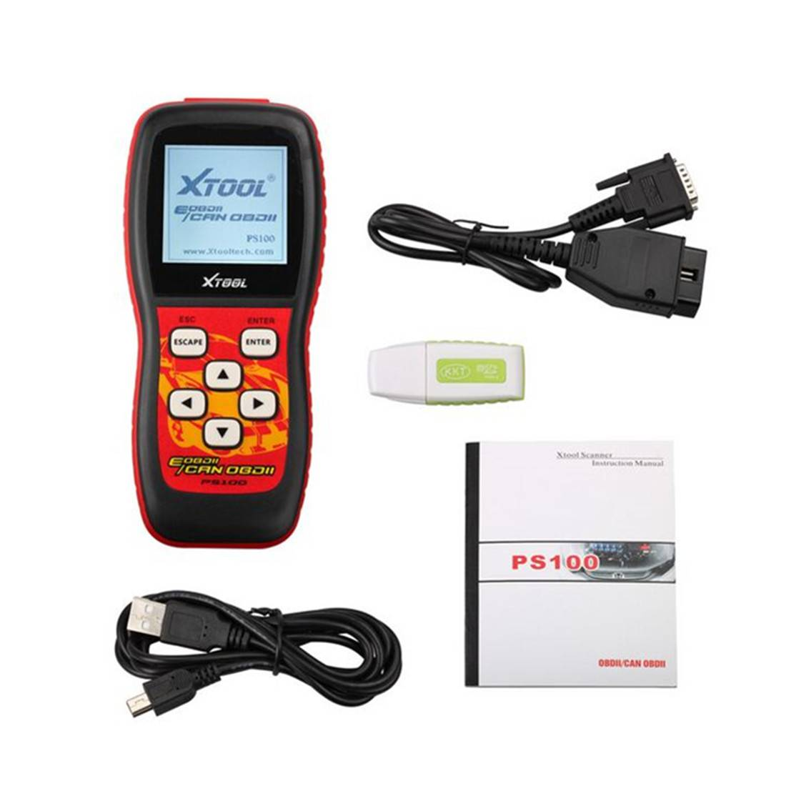 XTool PS100 code reader Live data OBDII with component test and and On-Board Monitor Reset clear eng